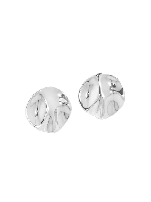 Silver [with pure Tremella plug] 925 Sterling Silver Geometric Minimalist Stud Earring